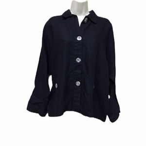 Whats Up 100% Linen Black Boxy Top Lagenlo…